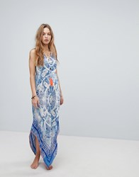 Surf Gypsy Beach Tie Dye Paisley Maxi Dress Multi