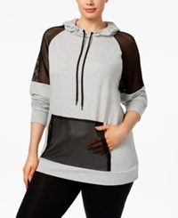 Material Girl Active Plus Size Mesh Trim Hoodie Only At Macy's Heather Platinum
