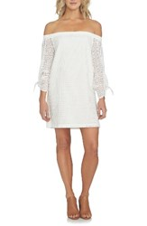 1.State Women's Eyelet Cotton Off The Shoulder Dress Cloud