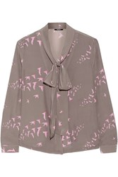 Raoul Flora Pussy Bow Printed Silk Crepe Blouse Brown