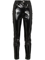 Unravel Project High Waisted Skinny Latex Jeans Black
