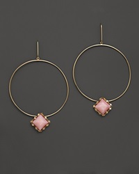 Lana Jewelry Pink Opal Blush Dangle Hoop Earrings Yellow Gold