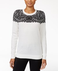 Maison Jules Intarsia Sweater Only At Macy's Egret Combo