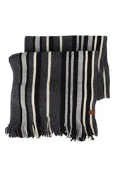 Men's Ben Sherman Vertical Stripe Knit Scarf Black Jet Black