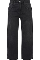 Current Elliott The Barrel Crop High Rise Wide Leg Jeans Black