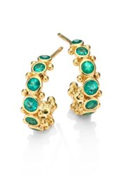 Temple St. Clair Eternity Emerald And 18K Yellow Gold Hoop Earrings 0.4 Gold Green
