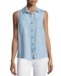 Splendid Sleeveless Button Front Chambray Top Light Blue Women's