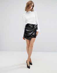 Mango Patent Buckle Detail Mini Skirt Black