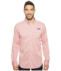 Columbia Super Harborside Slim Fit Woven Long Sleeve Shirt Sunset Red Micro Gingham Men's Long Sleeve Button Up Pink