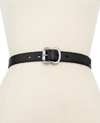 Fossil Leather Scallop Jean Belt Black
