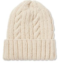 Connolly Cable Knit Wool Beanie Cream