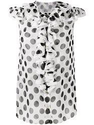 Dolce And Gabbana Ruffled Polka Dot Blouse White