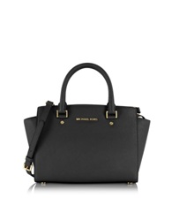 Michael Kors Black Selma Medium Top Zip Satchel