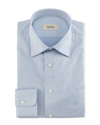 Neiman Marcus Solid Twill Dress Shirt Blue