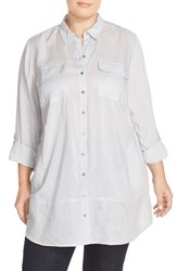 Plus Size Women's Caslon Mixed Media Roll Sleeve Tunic Grey Micro
