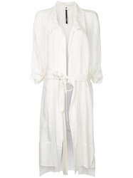 Taylor Tucked Cocoon Trench Coat White