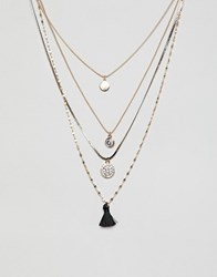 Aldo Gold Multi Layer Long Necklace With Charms And Tassel Jet Black
