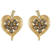 Eclectica Vintage 1950S Trifari Gold Plated Glass Crystals Heart Clip On Earrings Grey Gold