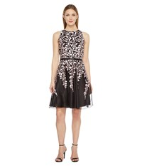 Tahari By Arthur S. Levine Embroidered Mesh Fit And Flare Dress Black Blush Women's Dress