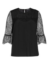 Hallhuber Pleated Lace Blouse Black
