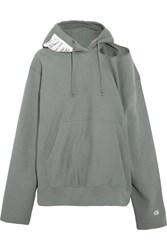 Vetements Champion Cutout Cotton Blend Jersey Hooded Top Gray