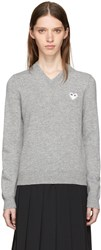 Comme Des Garcons Play Grey And White Heart Patch V Neck Sweater