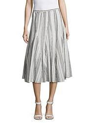 Saks Fifth Avenue Striped Flared Skirt Black Ivory