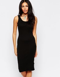 Brave Soul Ribbed Body Conscious Midi Dress Black