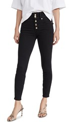 Good American Waist Button Fly Jeans Black001
