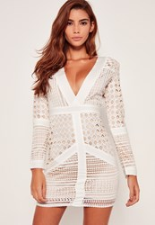 Missguided White Lace Plunge Bodycon Dress