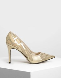 Charles And Keith Mesh Detail Pumps Gold