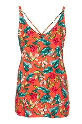 Topshop Tall Floral Print Cami Bright Red
