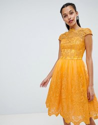 Chi Chi London Premium Lace Midi Dress With Cap Sleeve Yellow