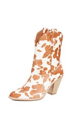 Jeffrey Campbell Audie Western Boots Tan White Cow