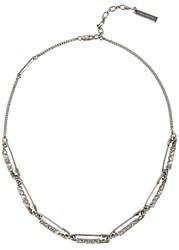 Marc Jacobs Strass Safety Pin Silver Tone Necklace