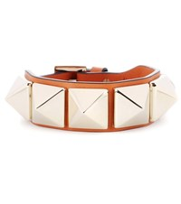 Valentino Rockstud Leather Bracelet Orange