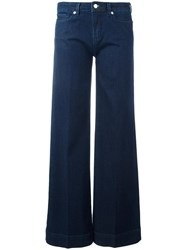 Love Moschino Brand Embroidery Flared Jeans Blue