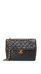 Wgaca Chanel Piped Shoulder Bag Previously Owned Black Red