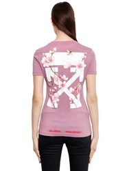 Off White Cherry Blossom Fitted Jersey T Shirt