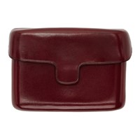 Christophe Lemaire Burgundy Leather Card Case