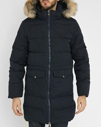Pyrenex Navy Authentic Pr Long Waterproof Removable Fur Down Jacket