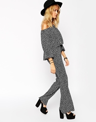 Asos Reclaimed Vintage Co Ord Trouser With Wide Leg Flare In Mono Print Monoprint