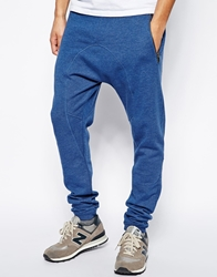 Solid Solid Sweatpants With Drop Crotch Blue