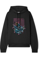 Kenzo Embroidered Cotton Blend Cady Hoodie Black