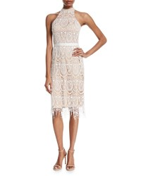 Catherine Deane Katana Crochet Fringe Halter Dress Oyster Almond