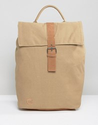 Mi Pac Day Pack Canvas Fold Top Backpack In Sand Beige