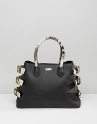 Faith Faux Snake Tote Bag With Buckle Detail Black