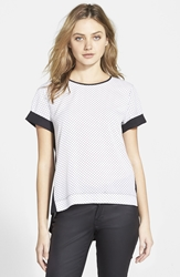 French Connection 'Polly Plains' Polka Dot Top Online Only Black Winter White