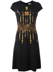 Etro Embroidered Flared Dress Black