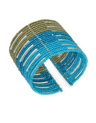 Design Lab Lord And Taylor Beaded Cuff Bracelet Blue
